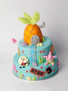 SpongeBob squarepants cake with Patrick and the pineapple!