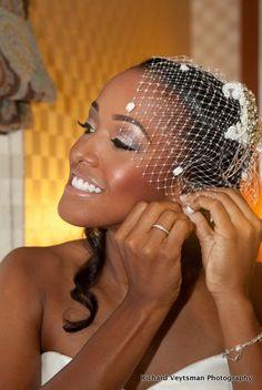 Black brides, birdcage veil, makeup for brown skin, African american brides, LGBT, African american bridal makeup www.JamayaMoore.com