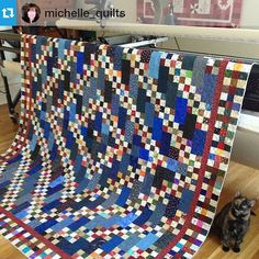 bonniekhunter:Check out this Narragansett blues from More Adventures with Leaders and Enders by @michelle_quilts! So awesome! I love what you did with this scrappy bit of wonderfulness, Michelle! #quilt#quilting #patchwork #quiltville #bonniekhunter #narragansettblues ・・・ Could this quilt be anymore awesome?? LOVE it…and so does Chloe! Thanks for a great pattern @quiltville_bonnie. Now for binding. #quiltville #narragansettblues #scrappyquilts