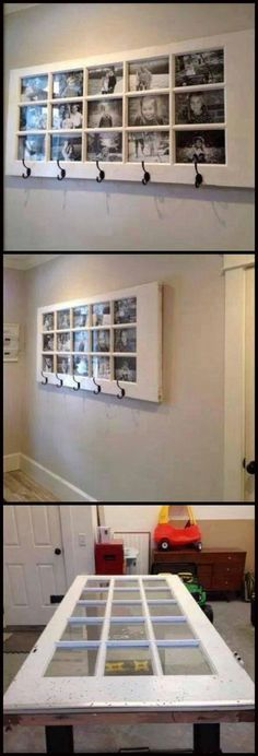 A great place to display photos, a good, usable shelf, lots of coat hooks AND it's made from a repurposed door! Home Projects, Diy Furniture, Doors Repurposed, New Homes, Home Decor, Photo Displays, Home Diy, Wood Door Frame, Window Projects