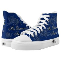 Shop Mis Quince Anos Elegant Blue Gold Quinceanera High-Top Sneakers created by darlingandmay. Quinceanera Shoes, Quinceanera Party, Blue Quinceanera Dresses, Quinceanera Planning, Quince Decorations, Quinceanera Decorations, Royal Blue And Gold, Blue Gold, Royal Blue Shoes