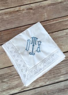Monogrammed Chapel Lace Something Blue Bridal Embroidered Wedding Handkerchief d Personalized Hangers, Monogram Wedding, Wedding Monograms, Something Blue Bridal, Red Geraniums, Wedding Handkerchief, Handmade Wedding, Wedding Gifts, Lace Weddings