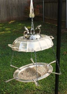 s 17 reasons to drop everything and buy cheap thrift store dishes, crafts, repurposing upcycling, Use a serving platter as a chic bird feeder