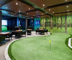 60 Game Room Ideas For Men - Cool Home Entertainment Designs - - Discover the pleasure of entertainment comforts with the top 60 best game room ideas for men. Explore cool designs from arcades to gaming spaces and more. Home Golf Simulator, Indoor Golf Simulator, Indoor Putting Green, Backyard Putting Green, Home Putting Green, Home Entertainment, Golf Man Cave, Hockey Man Cave, Sports Man Cave