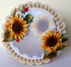 Stunning Sunflowers Scalloped Round Card Topper by Margaret McCartney