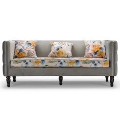 Wholesale Interiors - Baxton Studio Penelope Gray Velvet And Paisley-Floral Sofa - TSF-8125-SF Grey Velvet/Calico