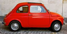 Fiat Photograph Rome Picture Red Car Photo Whimsical by AndreaHoag