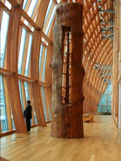 Giuseppe Penone removes the growth rings on a tree to reveal the tree at a younger age