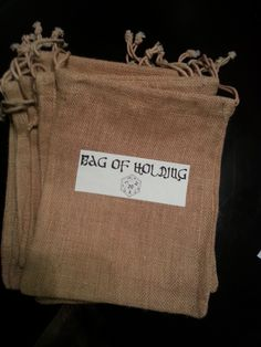Bag of Holding Favor Bags for Dungeons and Dragons Theme Party