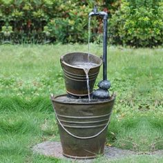 Two Tin Buckets with Tap Water Feature