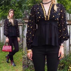 vintage 30's 40's sheer celestial empire waist embroidered blouse // dramatic glam Gothic goth bohemian boho gypsy ethereal art deco