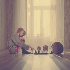 Describe the point-of-view here. In a summary use the point-of-view to describe thoughts and feelings of the person playing chess, as well as the person watching the chess game.