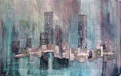 Karen Goetzinger. Waiting with Quiet Content -mixed media textile constructions that address urban life.