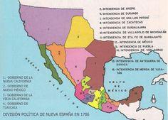 Mapa de Nueva España 1786 (división político-administrativa)