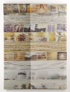 Margo Wolowiec / Purple, White, Yellow I / 2014 / Handwoven polyester, cotton, dye sublimation ink