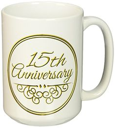 3dRose mug_154457_2 15Th Anniversary Gift Gold Text for Celebrating Wedding Anniversaries 15 Years Married Together Ceramic Mug 15Ounce -- Continue to the product at the image link.