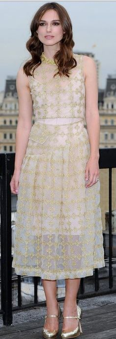 Who made Keira Knightley's gold dress that she wore in London