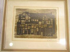 Mid Century Lino Cut or Wood Cut - Abstract House