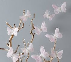Pink Feather Butterflies Set