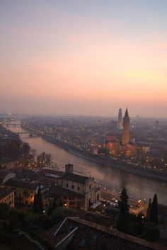 Sunset in Verona, Italy.