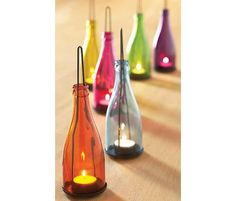 Colorful Bottle Lantern - Homemade Wine Bottle Crafts, http://hative.com/homemade-wine-bottle-crafts/,