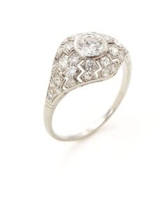 Art Deco White Gold & Diamond Cutout Ring by Estate Fine Jewelry at Gilt