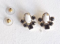 Anthropologie White Oval and Blue Crystal cluster Post Earrings #Anthropologie…