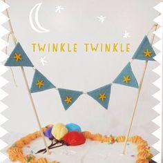 Birthday Cake Bunting - Felt Cake Decoration - Blue with Gold Stars Little Prince Party, Felt Cake, Cake Bunting, Gold Stars, Cake Cookies, Birthday Party Decorations, Twinkle Twinkle, 5 Years, Cookie Decorating