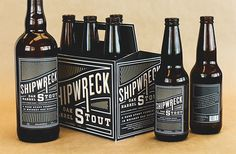 Packaging Design for the Shipwreck Oak Barrel Stout. Beverage Packaging, Bottle Packaging, Bottle Labels, Beer Bottles, Craft Beer Brands, Craft Beer Labels, Design Da Garrafa, Packaging Inspiration, Craft Bier