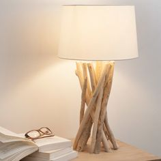 Driftwood lamp with cotton shade, H 55 cm- Lampe aus Treibholz mit Lampenschirm aus Baumwolle, H 55 cm Lamp NIRVANA made of driftwood with … - Driftwood Lamp, Driftwood Crafts, Rustic Lamps, Lamp Design, Floor Lamp, Lights, Interior, Table Lamps, Desk Lamp