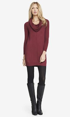 COWL NECK SWEATER DRESS - BERRY PINK