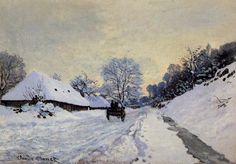 The Carriage - The Road to Honfleur Under Snow (Claude Monet).