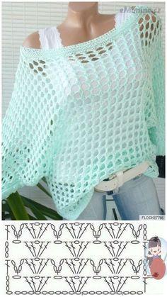 Pull Crochet, Crochet Jumper, Crochet Cardigan Pattern, Crochet Stitches Patterns, Crochet Blouse, Crochet Shawl, Crochet Designs, Easy Crochet, Crochet Baby
