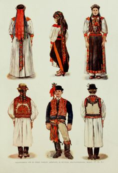 Hungarian folk costumes - Kalotaszeg - A magyar nép művészete Chain Stitch Embroidery, Learn Embroidery, Embroidery Patterns, Folk Costume, Costumes, Stitch Head, Renaissance, Hungarian Embroidery, Austro Hungarian