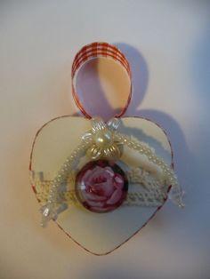 Vintage Herz Holz Shabby Cabochon Rose Spitze Anhänger Weihnachten Handarbeit
