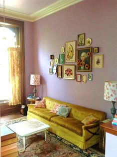 """Stacey's """"Grown Up Lavender"""" Room — Room for Color Contest (Apartment Therapy Main) Living Room Sofa, Living Room Decor, Living Spaces, Cozy Living, Interior Inspiration, Room Inspiration, Lavender Walls, Sweet Home, Yellow Sofa"""