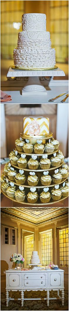 I like the second one- the small tier cake (for the bride and groom to keep) with cupcakes underneath to serve and make it look like a wedding cake.