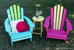 Painted Adirondack Chairs, Petticoat Junktion - love these color ideas for painted furniture! Hand Painted Chairs, Painted Coffee Tables, Painted Wood, Wood Patio Furniture, Funky Painted Furniture, Furniture Design, Decoupage Furniture, Furniture Plans, Wood Adirondack Chairs