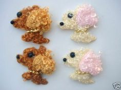 20 Curly Fur Poodle Dog Applique/bead/padded/bow/craft/motif/pink/brown H120