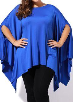 Skew Neck Asymmetric Hem Royal Blue T Shirt on sale only US$23.97 now, buy cheap Skew Neck Asymmetric Hem Royal Blue T Shirt at liligal.com