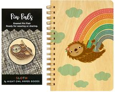 Rainbow Sloth Pocket-Size Wood Notebook & Enamel Pin Set