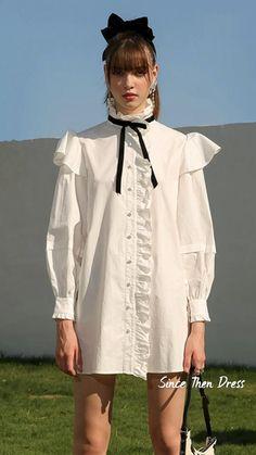 Striped Dress, White Dress, Retro Fashion, Vintage Fashion, Romantic Outfit, Shirt Sale, Parisian Style, Feminine Style, Dresses For Sale