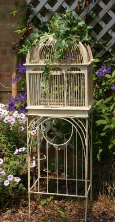 Vintage Wood BIRD CAGE on Metal Stand with Swing