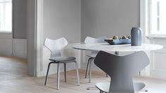 Grand Prix chair in coloured ash in grey and wooden base by Arne Jacobsen