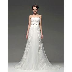 o linie podea-lungime rochie de mireasa fara bretele – EUR € 299.99