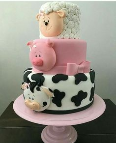 Cute animal cake for kids. Cow, pig and sheep. Professional 3 tier cake that is pretty and neat. Baby Cakes, Baby Shower Cakes, Cupcake Cakes, Pink Cakes, Dog Cakes, Pretty Cakes, Cute Cakes, Farm Animal Cakes, Farm Animals