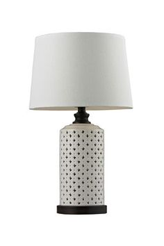 Ceramic Open Work with Wood Tone Accents Table Lamp