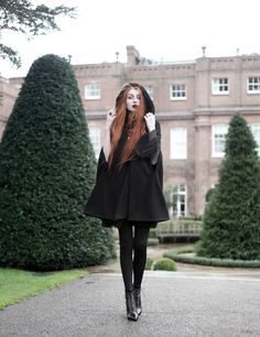 Olivia Emily wears Dark Thorn Clothing Cape, Killstar Nu Decay Dress, and Saint Laurent Fetish Ankle Boots Witch Fashion, Dark Fashion, Gothic Fashion, Autumn Fashion, Street Fashion, Olivia Emily, Fotos Goals, Fall Outfits, Fashion Outfits