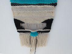 #weaving #black #white #rope #cotton #wool #blue #turquoise #handmade #gift #geometric #weft #warp