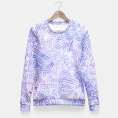 """""""Serenity and white zentangles"""" Fitted Waist Sweater by Savousepate on Live Heroes #sweatshirt #clothing #apparel #pattern #graphic #modern #abstract #doodles #zentangles #scrolls #spirals #arabesques #serenity #lavender #lilac #blue #purple #mauve #pastelcolors #softcolors #pantonecolors2016 #trendscolors2016"""